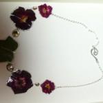 collana rose fuxia ed edera